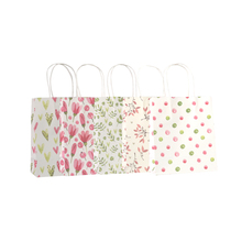 10 Pcs/lot Simple Flower printed  kraft paper bag Festival gift bags Paper with handles children 18x15x8cm