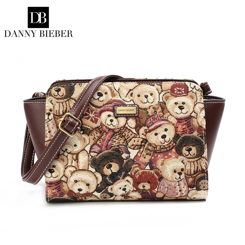 Дэнни Бибер Винтаж холст Для женщин мешок с прекрасным медведи Мода трапеция Дизайнер Малый Сумка Повседневное Сумка Основной
