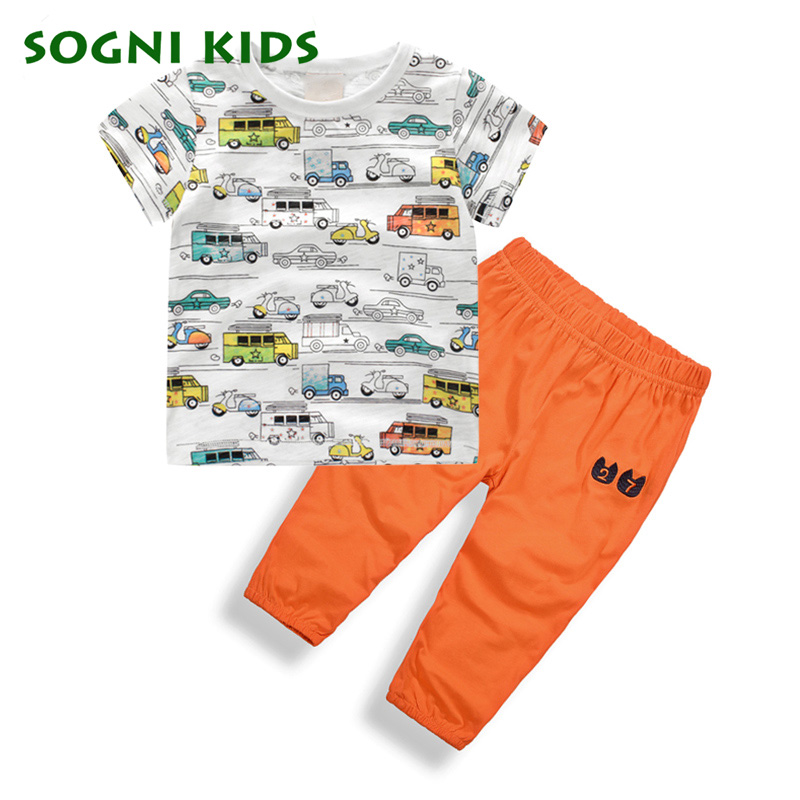 Summer baby boys clothes set cotton short sleeve cartoon Cars T shirt + pants Casual Infant Kids Boys Clothing Sets 2017 beanbus summer children s t shirts for boys casual t shirt o neck printing cartoon cotton boys short sleeved t shirt boy clothes