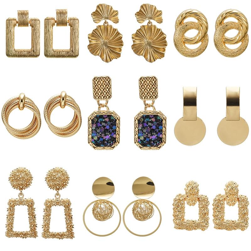 Metal Multicolored Drop Dangle Earrings For Women Geometric Wedding Party Vintage Earring Female Bohemian earrings
