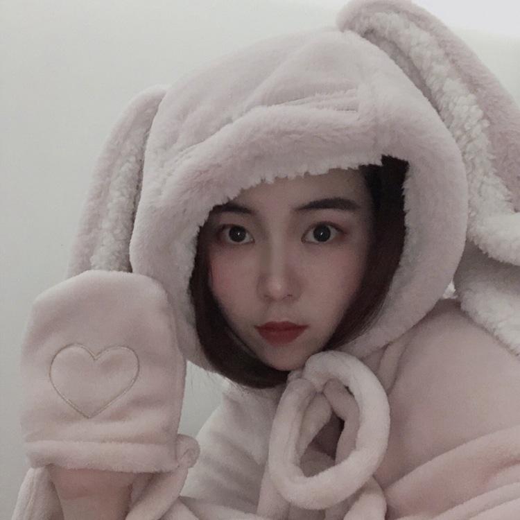 Cute Pink Comfy Blanket Sweatshirt Winter Warm Adults and Children Rabbit Ear Hooded Fleece Blanket Sleepwear Huge Bed Blankets 71