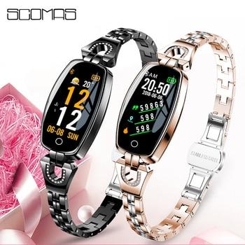 Reloj Inteligente SCOMAS a la última moda para mujer, Monitor de ritmo cardíaco, Bluetooth 4,0, Smartwatch deportivo, Reloj Inteligente para IOS y Android