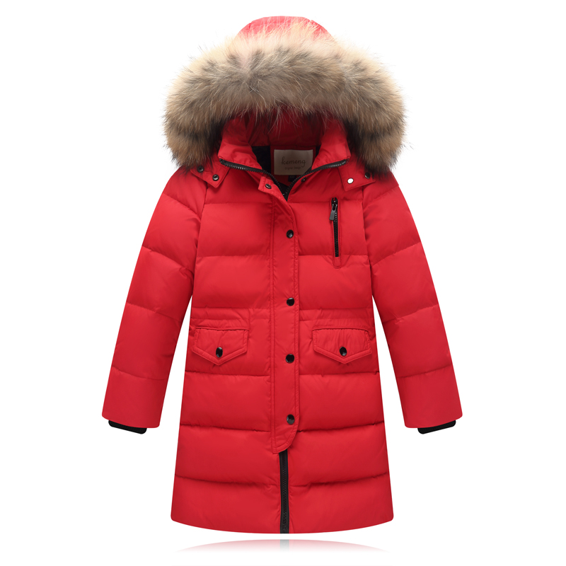 2018 Children Winter Slim Down Jacket Girls Long Sections Thick Down Jacket Kids Boys Fur Hooded Duck Down Coats Outwear Parkas