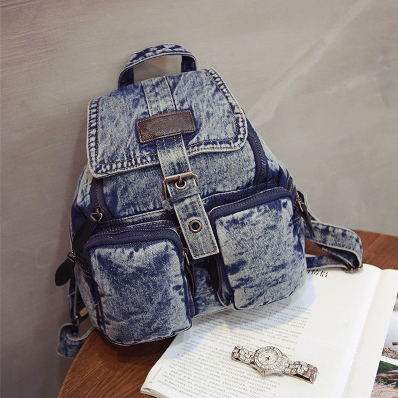Preppy Women Vintage Denim Backpacks Small School Rucksack Bags Teenage Girls Fashion Solid Travel mochila feminina Jeans Child women school bags floral printing leather backpack for teenage girls travel small backpacks mochila feminina rucksack bagpack