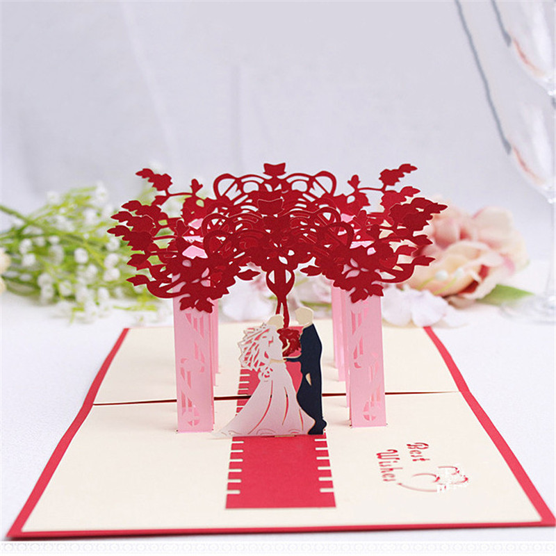 3D Pop Up Card Heart-shaped Lover Romantic Wedding Greeting Gift New Hot Cards