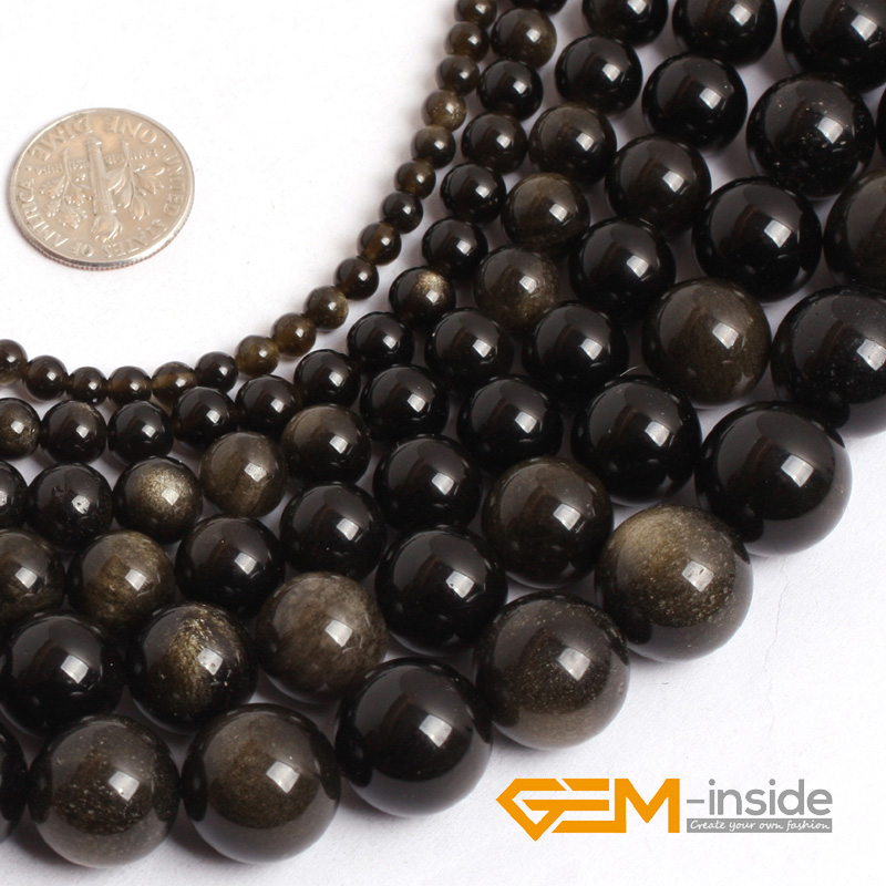 Natural Stone Beads : Aliexpress buy gold obsidian stone beads mm to