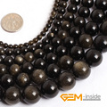 Gold Obsidian stone beads: 4mm to 14mm natural stone beads loose bead for jewelry making strand 15 inches wholesale !