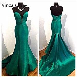 Image 1 - 2020 Noite Vestidos Elegant Ladies Evening Dresses Emerald Green Mermaid Prom Dress Reflective Dress