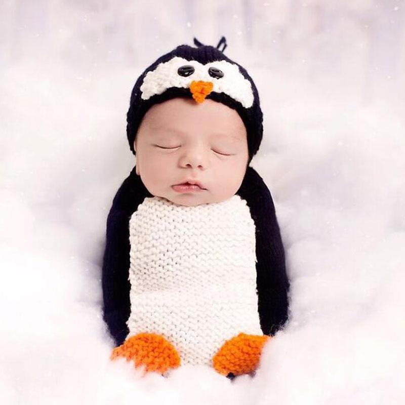 ⑥2018 lindo penguinz fotografía atrezzo ganchillo bebé recién ...