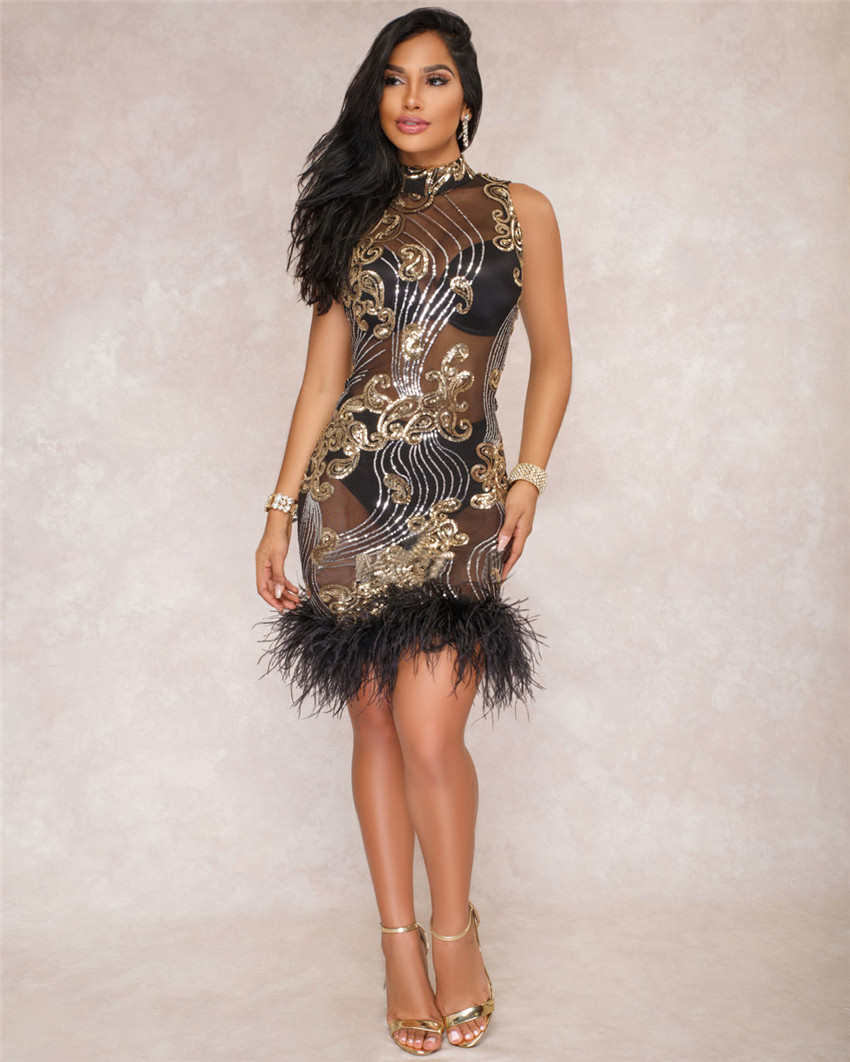 Tsuretobe New Fashion Sexy Sequin Feather Dress Women Evening Party ... 4fa3d04f4b9d