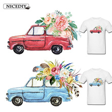 Nicediy Iron On Transfers On Clothing Heat Transfer Vinyl Sticker Patch Car Flower Patches Thermal Transfer Press Washable Decor parches cartoon cat heat transfer vinyl for t shirts iron on transfers patches for clothing thermal transfer sticker washable e
