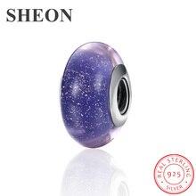 SHEON 100% 925 Sterling Silver Sparkling Murano Glass Beads Fit Original Pandora Charm Bracelet Women DIY Jewelry Accessories