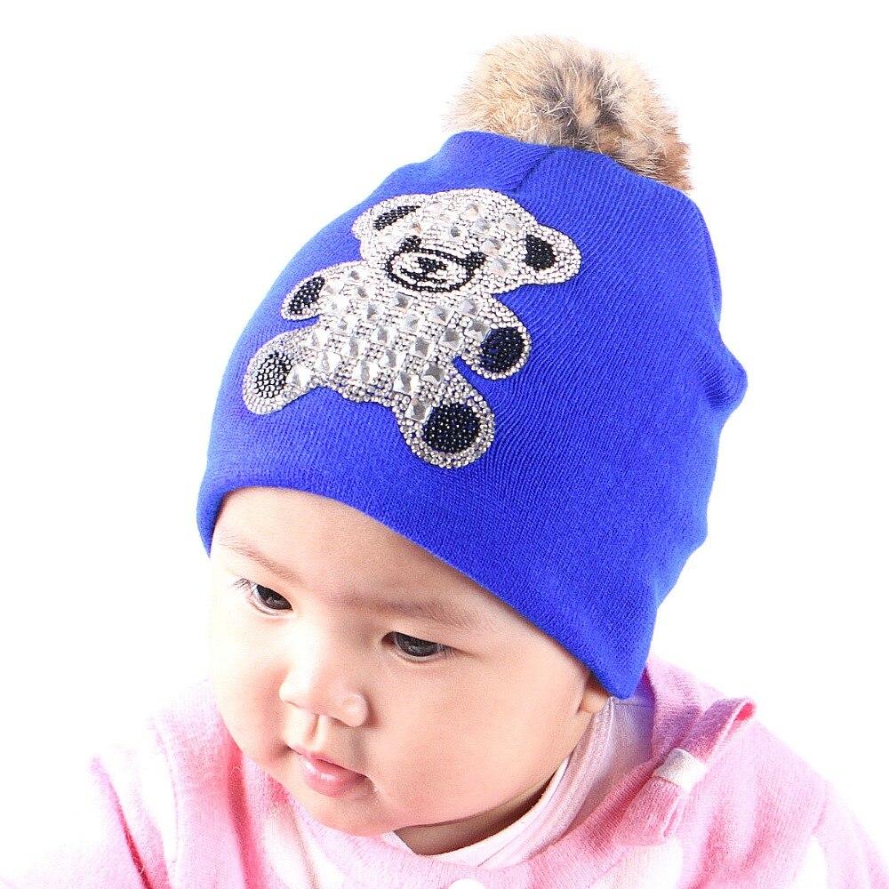 0-2 year old girl boy baby lovely fur pompom winter hats large bear animal style rhinestone luxury beanies caps children gorros