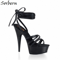 Sorbern Ankle Strap Sandals Slippers Women Spike Heels Plataform Shoes Sandals Handmade Womens Designer Shoe High Heels 15Cm