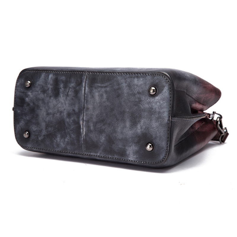 Norbinus Vintage Women Genuine Leather Bags Brush Color Crossbody Purse Handbags Fashion Messenger Shoulder Top Handle Bags Tote