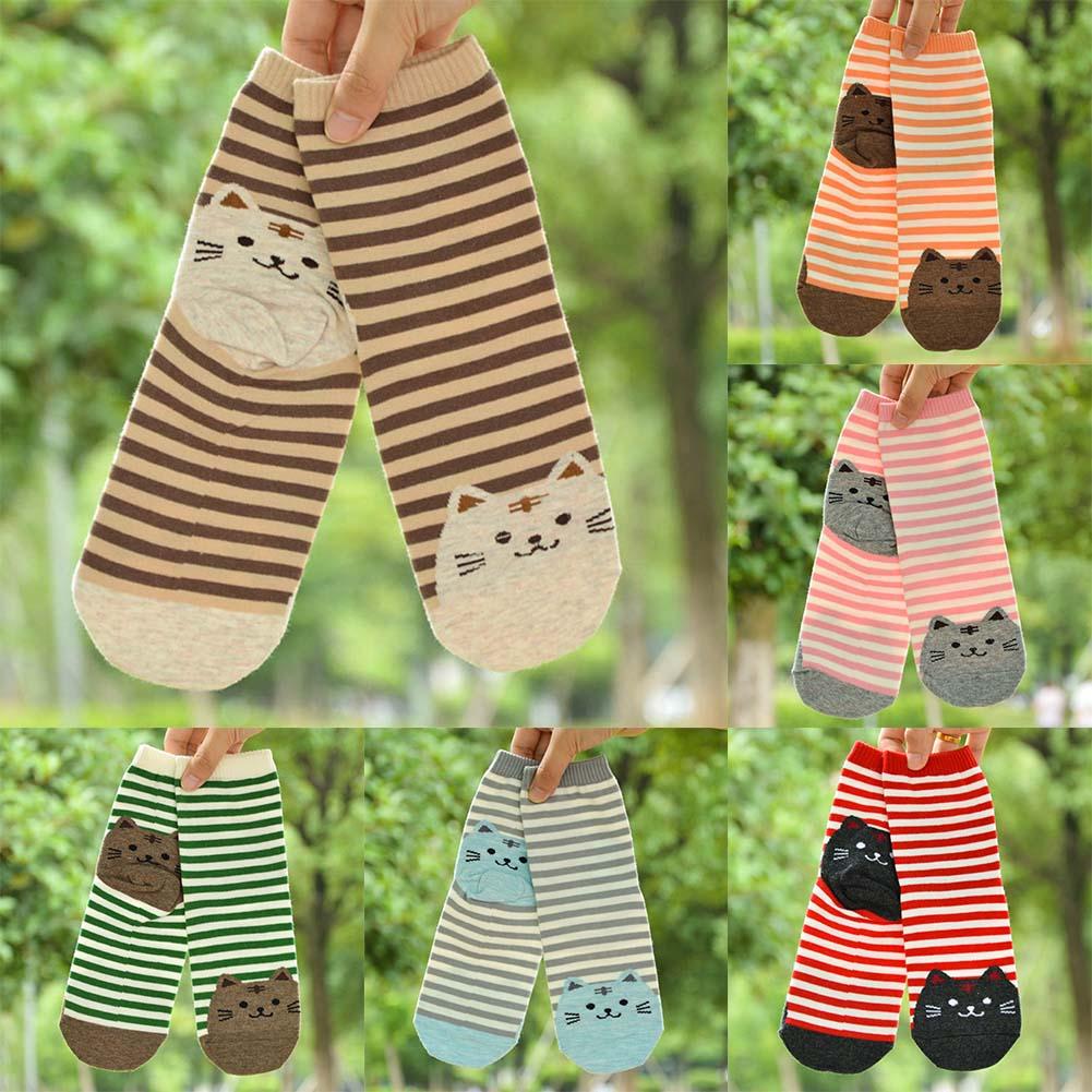 Fashion Cartoon Socks Women Cat Footprints 3D Animals Style Striped Warm Cotton Socks Lady Floor Socks For Female