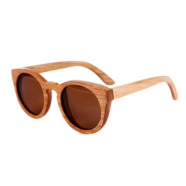 Free shipping bamboo wooden sunglasses round frame sunglasses