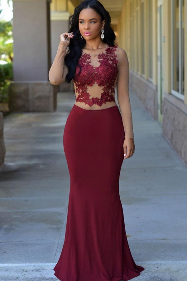 01c04efacdc3 Cecelle Burgundy Mermaid Long Sleeves Jersey Prom Dresses 2016 Sheer  Illusion Bodice Lace Appliques Sexy Formal Evening Wear-in Prom Dresses  from Weddings ...