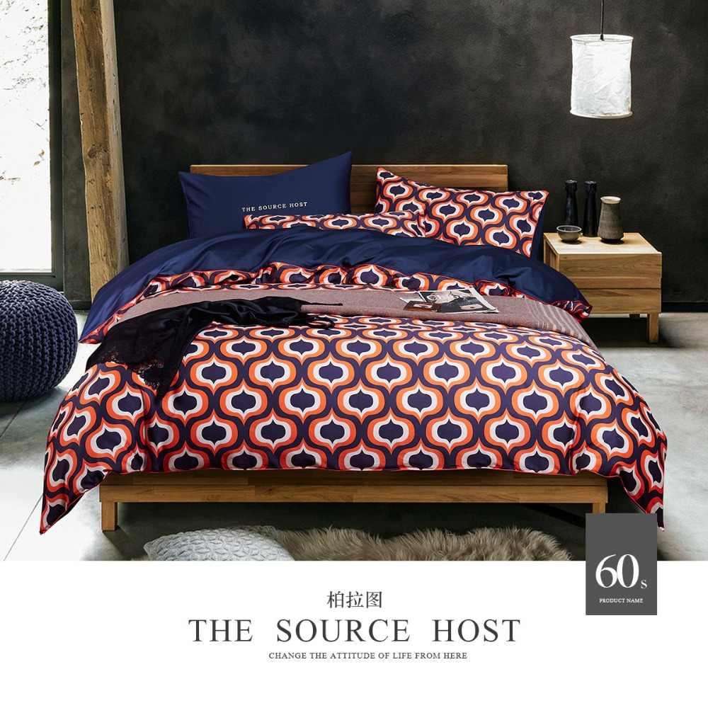 100% хлопок постельных принадлежностей Королева Размер 4 шт 60 S сатин постельное белье двойное одеяло набор пододеяльников двуспальное одеяло стеганые одеяла напечатанные простыни