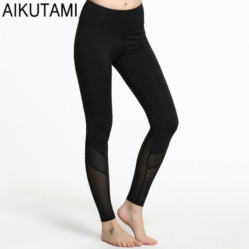 New 2018 Running Tights Women Yoga Pants Breathable Compression Mesh Hidden Pockets Athletic Leggings Fitness Sport Legging