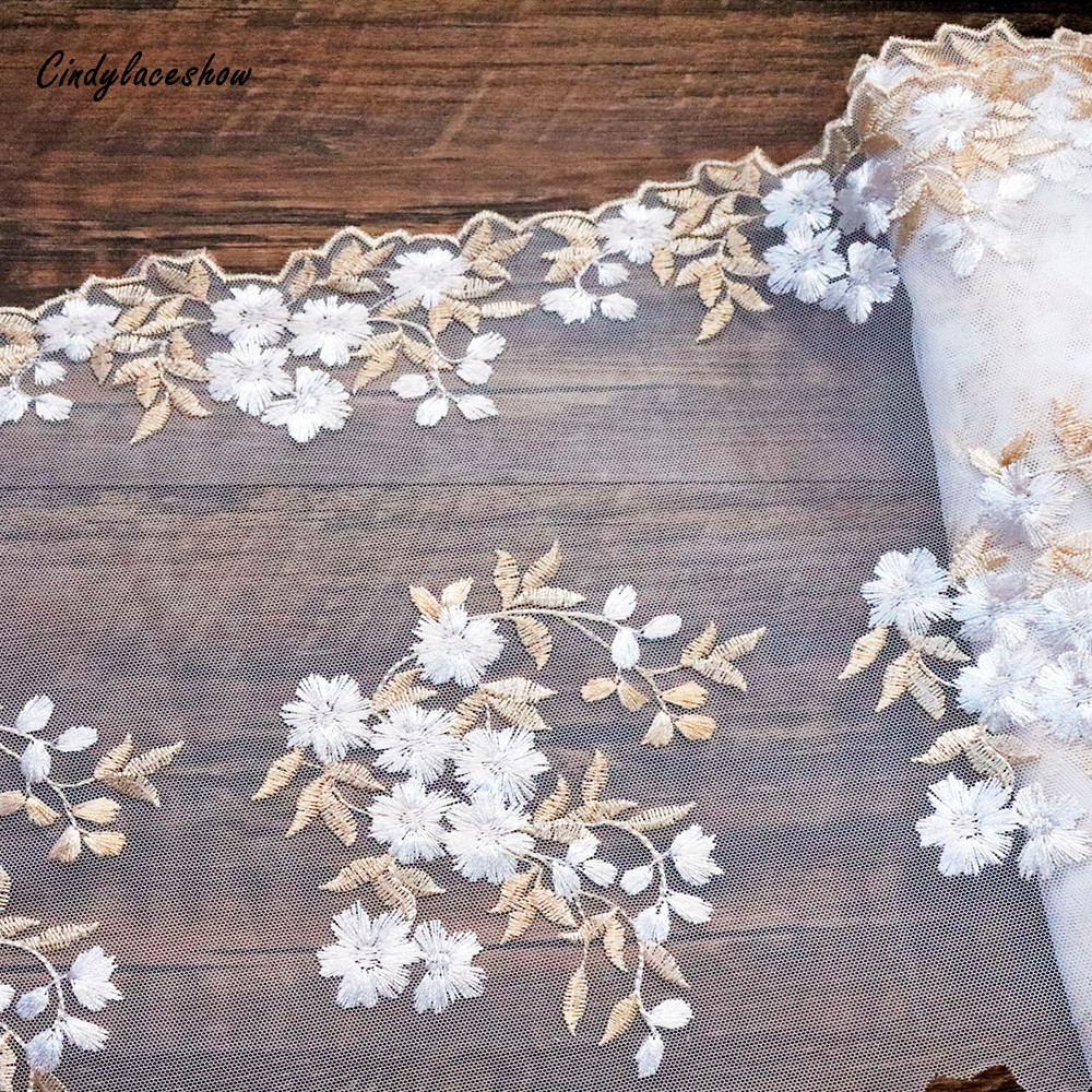 27cm width White Embroidered Sewing Ribbon Bridal Veil Lace Trim Dress Fabric DIY Garment Accessories Curtains African