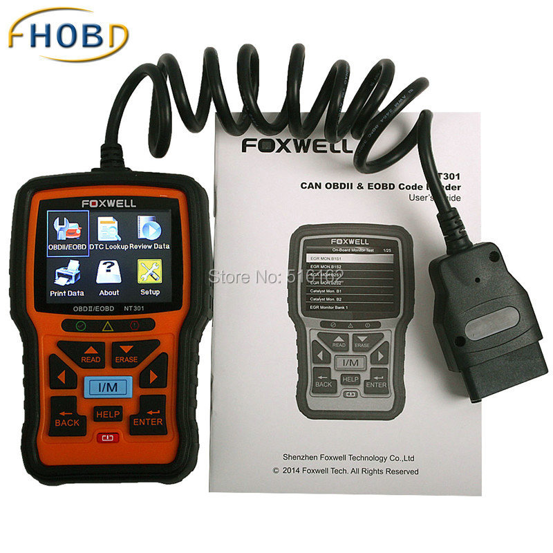 Foxwell NT301 Can OBDII EOBD Code Reader Update Online Check Engine Scanner Tool Spanish French Portuguese Languages free shipping xc3020 7pc84i new original and goods in stock