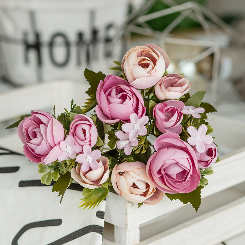 6 Heads Bouquet Rose Decor Artificial Flower Home Decor Imitation Fake Flower for Garden Plant Desk Decor Hand-Holding Flower (2)
