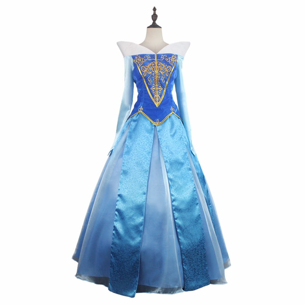 Princess Aurora Blue Dress Cosplay Sleeping Beauty Women's Dress Blue Version Costume Cosplay for Halloween Carnival Party