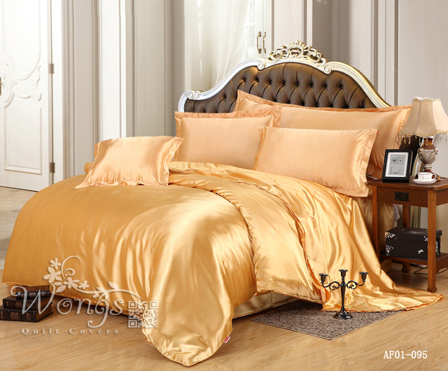 2016 New Bedding Set Silk Like Solid Gold Yellow Single Double Queen