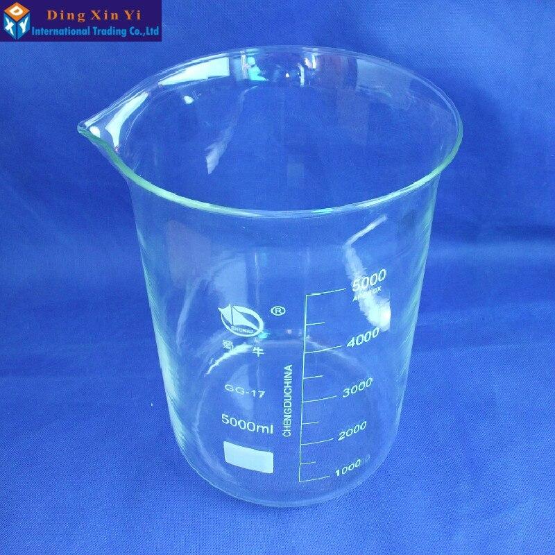 Vaso de vidrio SHUNIU 5000 ml, vaso de laboratorio 5000 ml, baja forma con la graduación y la marca famosa china de vidrio Boro 3,3-in Vaso de precipitados from Suministros de oficina y escuela    2