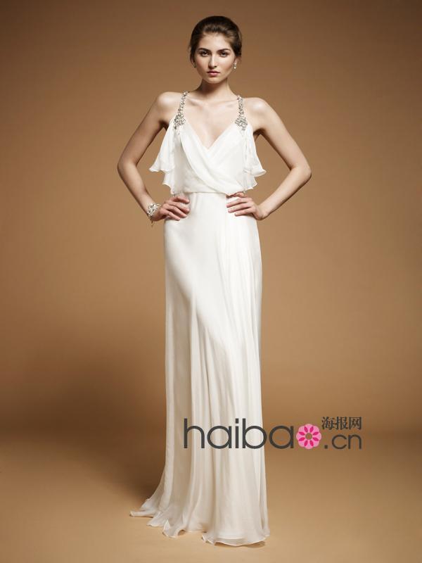 Livraison gratuite 2016 nouveaux vestidos de mode robe de soirée formelle sexy cristal perlé blanc longue élégante robe de soirée robes de soirée