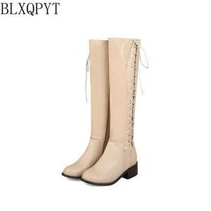 Image 3 - BLXQPYT 2018 New Big kích thước 33 50 khởi động phụ nữ Mùa Thu Mùa Đông ấm áp bottine femmes zapatos mujer giày Đầu Gối  cao người phụ nữ 2012