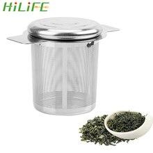HILIFE чайные заварки с 2 ручками корзина многоразовая мелкая сетка чайная крышка Ситечка чай и кофе фильтры из нержавеющей стали