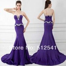 Wonderful Sweetheart Trumpet Mermaid Evening Dresses Rhinestone Beads Peplum Satin 2014 Formal Gowns yk8R964