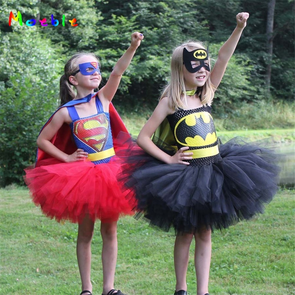 2018 Superman Batman Girls Tutu Dress with Mask Halloween Cosplay Costume Baby Kids Party Dresses for Girl Tulle Dress Christmas horse tutu dress cute farm animal halloween costume baby girl newborn kids tutu dresses 5 6 7 8 10 12 brown tan mane 2 pt127