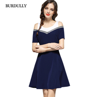 BURDULLY New 2017 Women Short Sleeve Patchwork Dresses Ladies Casual Mini Summer Style Dresses Fashion Party