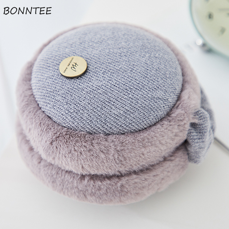 Earmuffs Women 2019 Winter Elegant Plus Velvet Simple Solid Cotton Plush Womens Ear Warmers Lovely Korean Style Ladies Earmuff