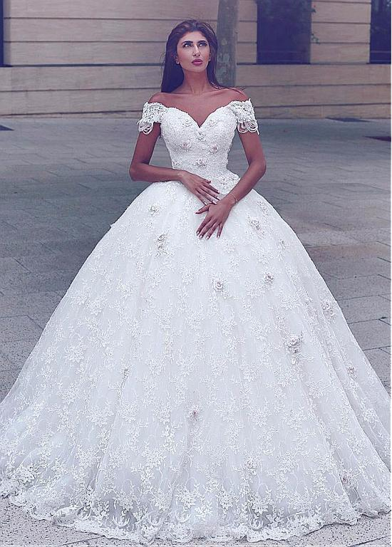 Plus Size Vestido De Noiva 2019 Muslim Wedding Dresses Ball Gown V-neck Lace Flowers Boho Dubai Arabic Wedding Gown Bridal