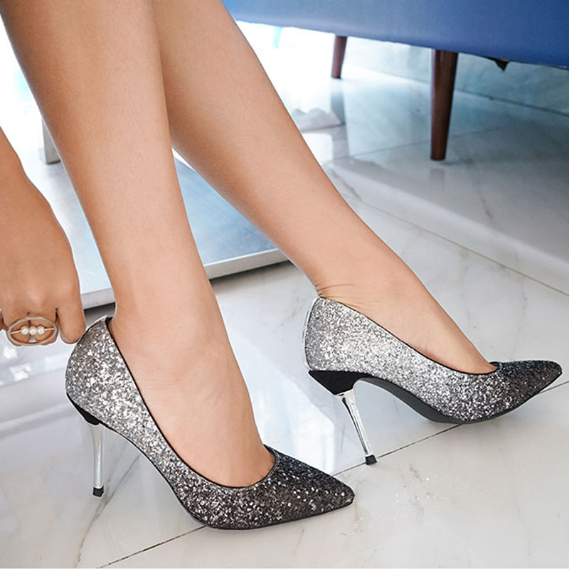 be6df84a9 Sapatas Das Mulheres Sexy Gradiente LUZHIMEI Comfor Cor Sapatos 9.5 cm  Casamento Salto Alto Fino Senhoras