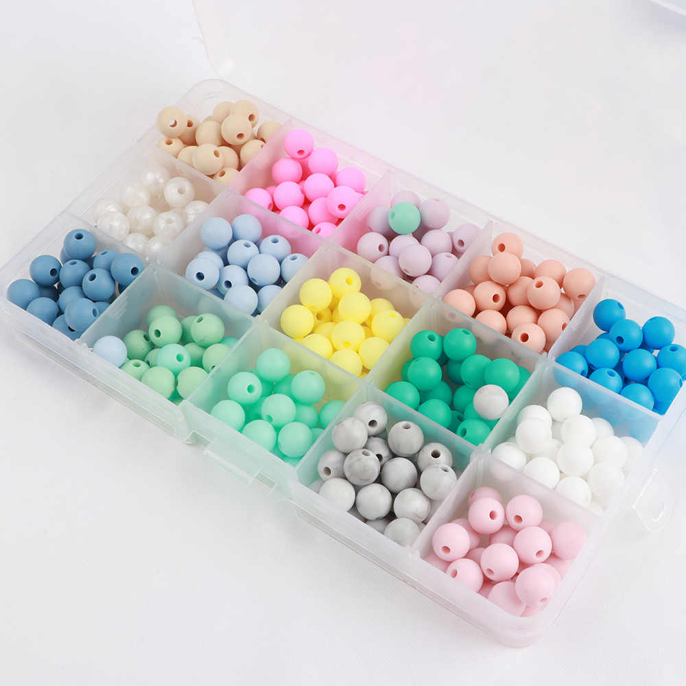 TYRY.HU 35PCS 15mm Baby Teether Beads DIY Chew Necklace Pearl Pacifier Clips Chain Food Grade Silicone Beads