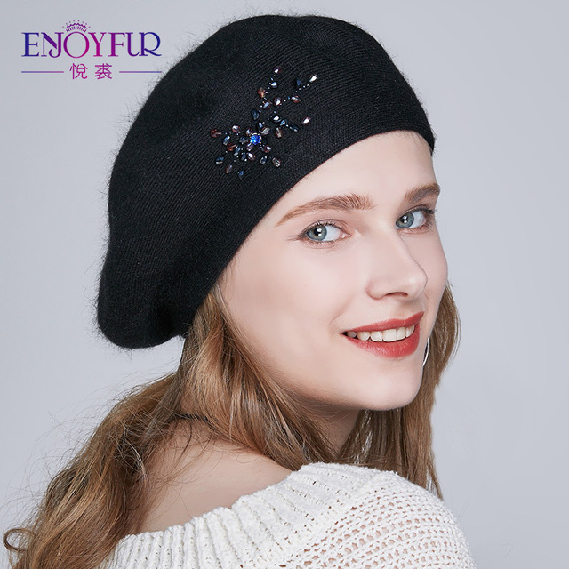 ENJOYFUR Winter Beret Hats Wool Knitted Warm Solid Color Rhinestone Berets Beanie Caps
