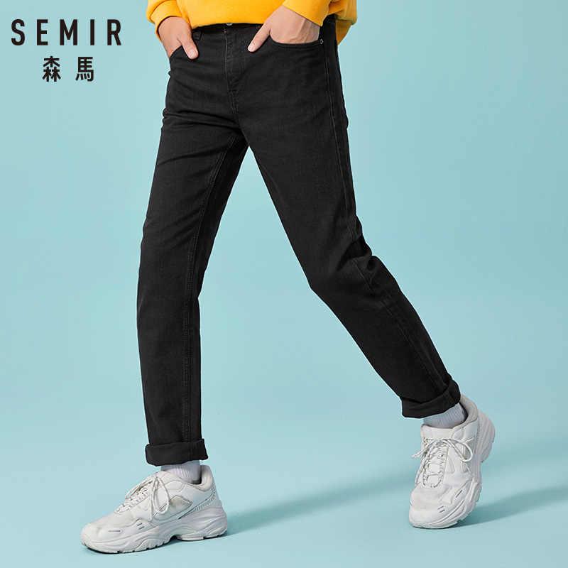 SEMIR 2020 새로운 겨울 따뜻한 청바지 남성 클래식 유명 브랜드 두꺼운 양털 청바지 따뜻한 몰려 들고 남성 진 캐주얼 바지 남성용
