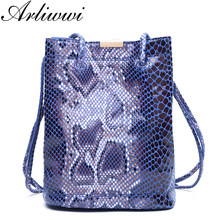 Arliwwi Elegant Lightweight Convenient Shiny Snake Pattern 100% GENUINE LEATHER Ladies Everyday Use Bucket Shoulder Bags S0946(China)