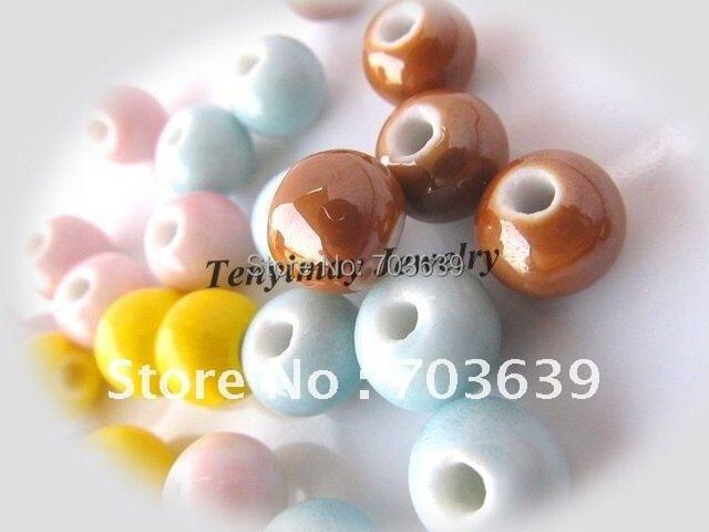 Mixed Color 10mm Round Ceramic Loose Beads For Ceramic Bracelet, Ceramic Necklace(100pcs/lot)