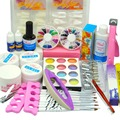 2016 New Nail Art Kits clear/white/pink UV gel glitter Acrylic Powder Top Coat UV Gel kit Cutter Tips Brush Pen Manicure Set