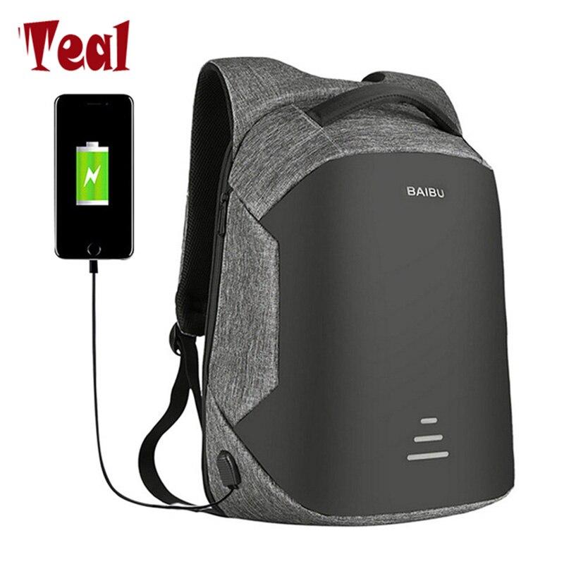 2018 men Backpack Canvas Multifunction USB charging 15inch Men Laptop Backpacks For Teenager Fashion Male Brand waterproof bag