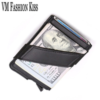 VM FASHION KISS Genuine Leather Aluminum Box Men S RFID Security Information Mini Thin Wallet Credit