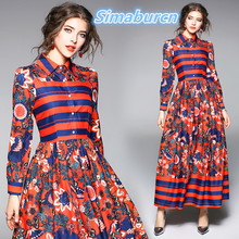 Spring Women Printed Dress 2018 Casual Turn down Collar Femme Long Dress Ladies Long Sleeve Loose Red Vintage Dresses S-XXL s xxl plus size corset blue knitted sweater dress women turn down collar casual elegant dress women midi long sleeve dresses