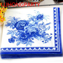 2 packs FOOD GRADE Abstract pattern Napkin Paper 100% Virgin Wood blue flower Tissue for Party Decoration Paper Crafts цена и фото