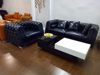 Top Grain Leather Sofa Diamond Tufted Stainless Steel Legs Contemporary Living Room Furniture Made in China